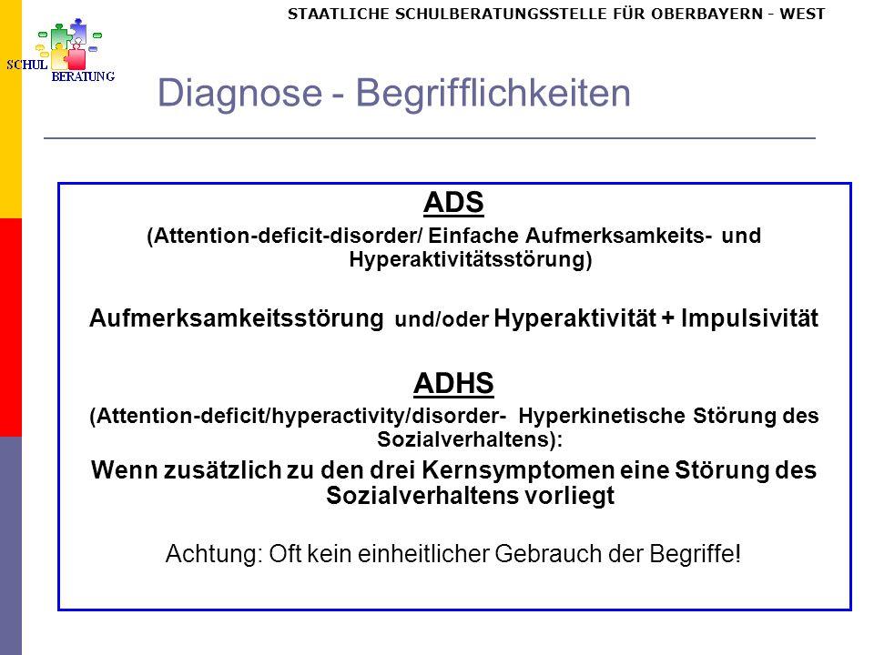 STAATLICHE SCHULBERATUNGSSTELLE FÜR OBERBAYERN WEST Diagnose - Begrifflichkeiten ADS (Attention-deficit-disorder/ Einfache Aufmerksamkeits- und Hypera
