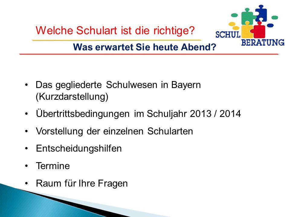 Welche Schulart ist die richtige? Das gegliederte Schulwesen in Bayern (Kurzdarstellung) Übertrittsbedingungen im Schuljahr 2013 / 2014 Vorstellung de