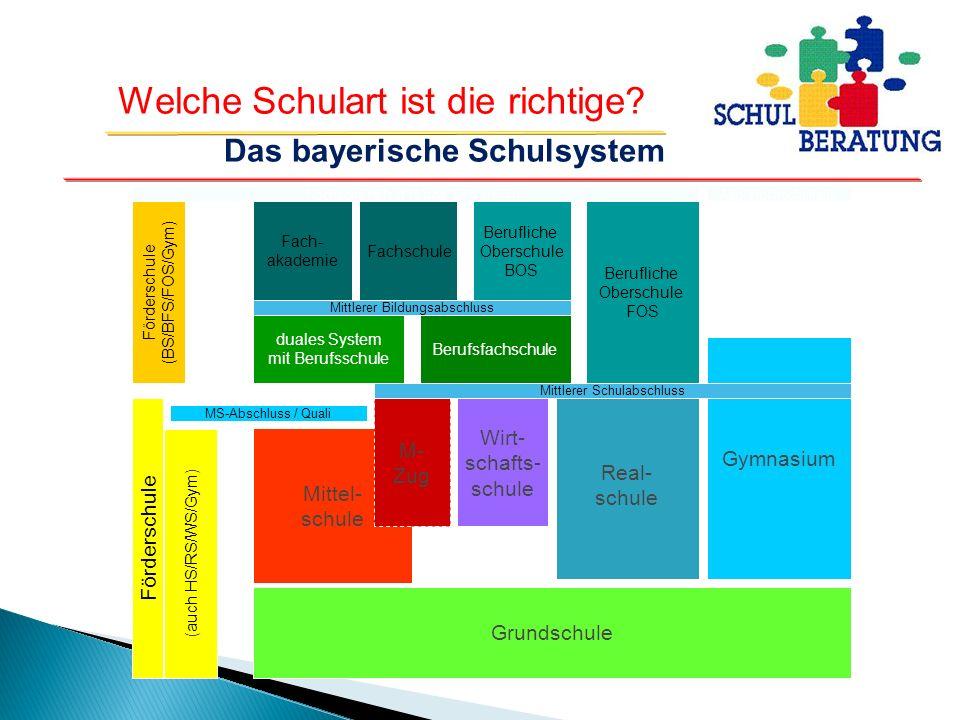 Welche Schulart ist die richtige? 12 11 10 9 8 7 6 5 4 3 2 1 Mittel- schule M- Zug Wirt- schafts- schule Real- schule Gymnasium Mittlerer Schulabschlu