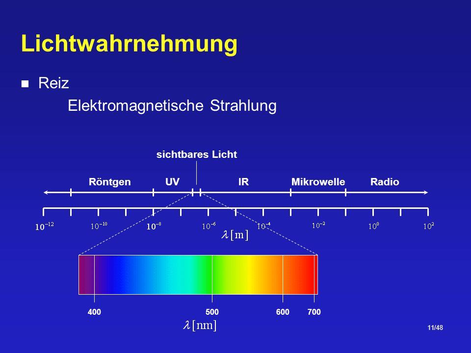 11/48 Lichtwahrnehmung Reiz Elektromagnetische Strahlung UVIRRadioRöntgenMikrowelle sichtbares Licht 700400500600