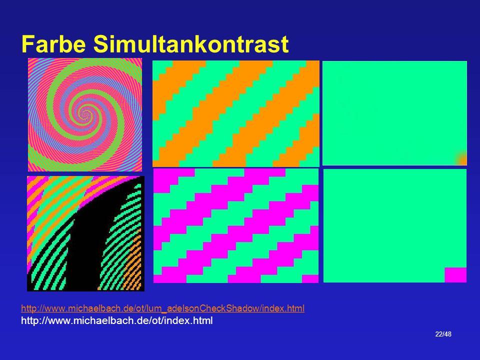 22/48 Farbe Simultankontrast http://www.michaelbach.de/ot/lum_adelsonCheckShadow/index.html http://www.michaelbach.de/ot/index.html