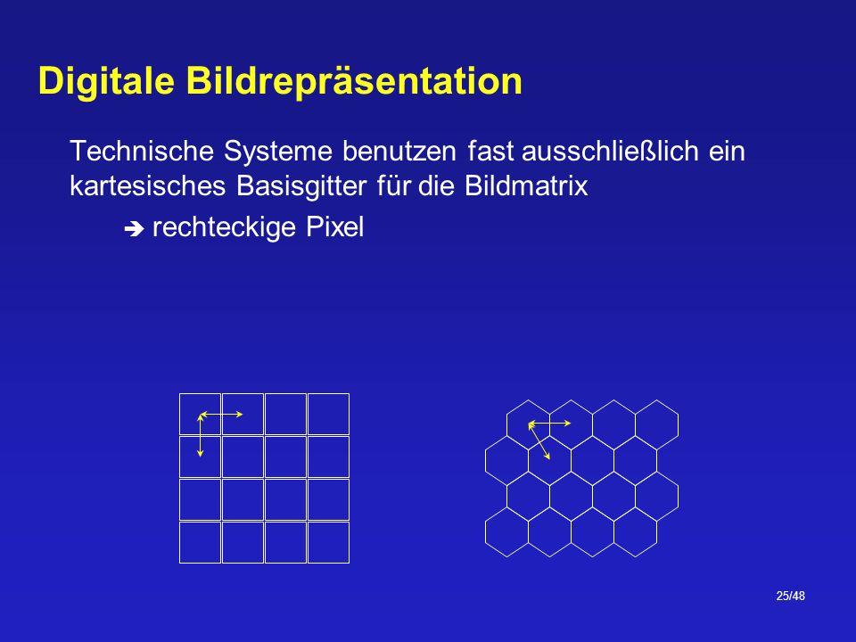 25/48 Digitale Bildrepräsentation Technische Systeme benutzen fast ausschließlich ein kartesisches Basisgitter für die Bildmatrix rechteckige Pixel