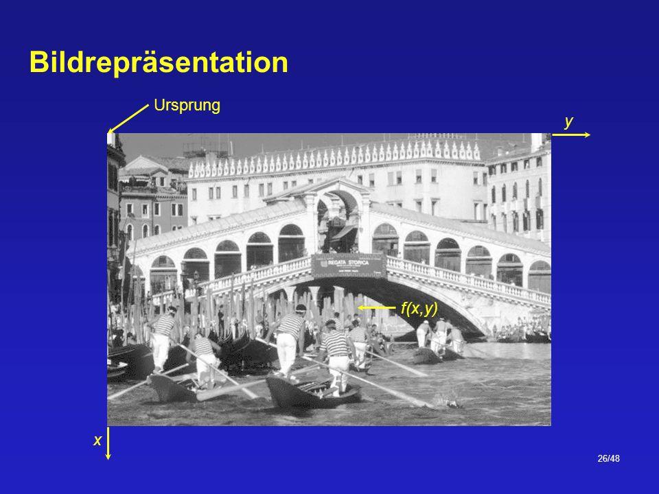 26/48 Bildrepräsentation Ursprung x y f(x,y)