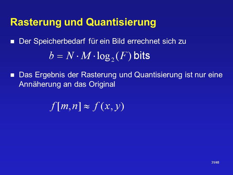 31/48 Rasterung und Quantisierung Der Speicherbedarf für ein Bild errechnet sich zu Das Ergebnis der Rasterung und Quantisierung ist nur eine Annäherung an das Original