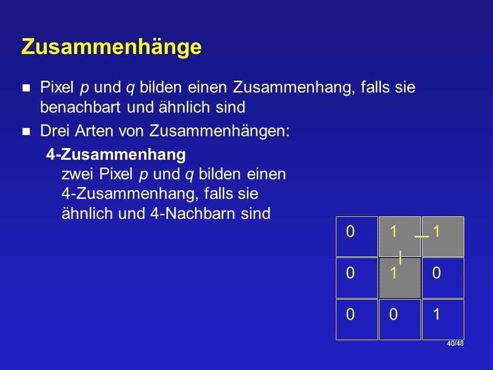 40/48 Zusammenhänge Pixel p und q bilden einen Zusammenhang, falls sie benachbart und ähnlich sind Drei Arten von Zusammenhängen: 4-Zusammenhang zwei Pixel p und q bilden einen 4-Zusammenhang, falls sie ähnlich und 4-Nachbarn sind 011 100 001