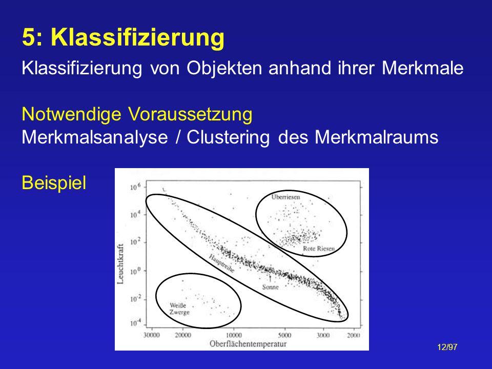 12/97 5: Klassifizierung Klassifizierung von Objekten anhand ihrer Merkmale Notwendige Voraussetzung Merkmalsanalyse / Clustering des Merkmalraums Bei