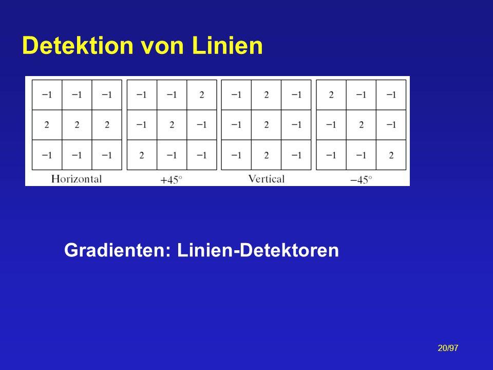 20/97 Detektion von Linien Gradienten: Linien-Detektoren