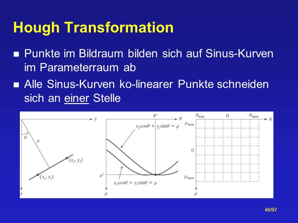 46/97 Hough Transformation Punkte im Bildraum bilden sich auf Sinus-Kurven im Parameterraum ab Alle Sinus-Kurven ko-linearer Punkte schneiden sich an