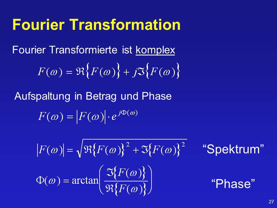 27 Fourier Transformation Fourier Transformierte ist komplex Aufspaltung in Betrag und Phase Spektrum Phase