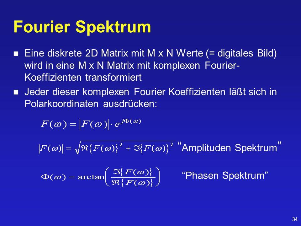 34 Fourier Spektrum Eine diskrete 2D Matrix mit M x N Werte (= digitales Bild) wird in eine M x N Matrix mit komplexen Fourier- Koeffizienten transfor