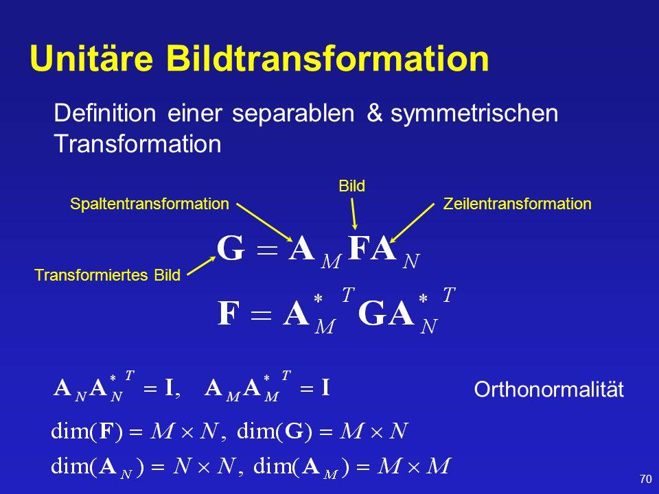 70 Unitäre Bildtransformation Definition einer separablen & symmetrischen Transformation Orthonormalität Zeilentransformation Bild Transformiertes Bil