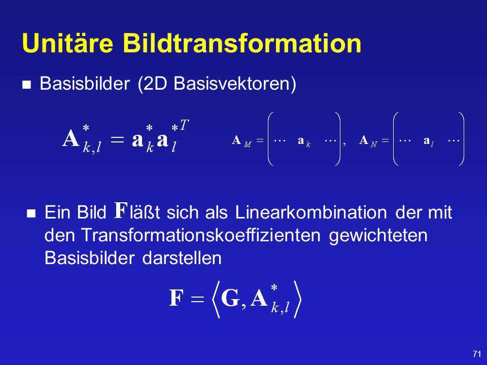 71 Unitäre Bildtransformation Basisbilder (2D Basisvektoren) Ein Bild läßt sich als Linearkombination der mit den Transformationskoeffizienten gewicht
