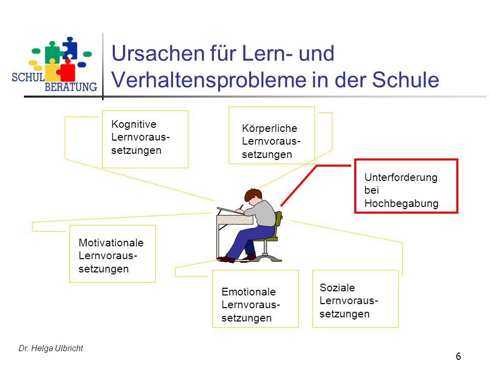Dr. Helga Ulbricht 6 Ursachen für Lern- und Verhaltensprobleme in der Schule Kognitive Lernvoraus- setzungen Körperliche Lernvoraus- setzungen Motivat