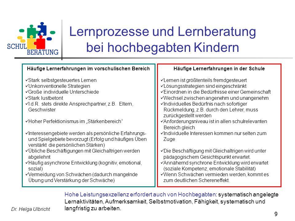 Dr. Helga Ulbricht 9 Lernprozesse und Lernberatung bei hochbegabten Kindern Häufige Lernerfahrungen im vorschulischen Bereich Stark selbstgesteuertes