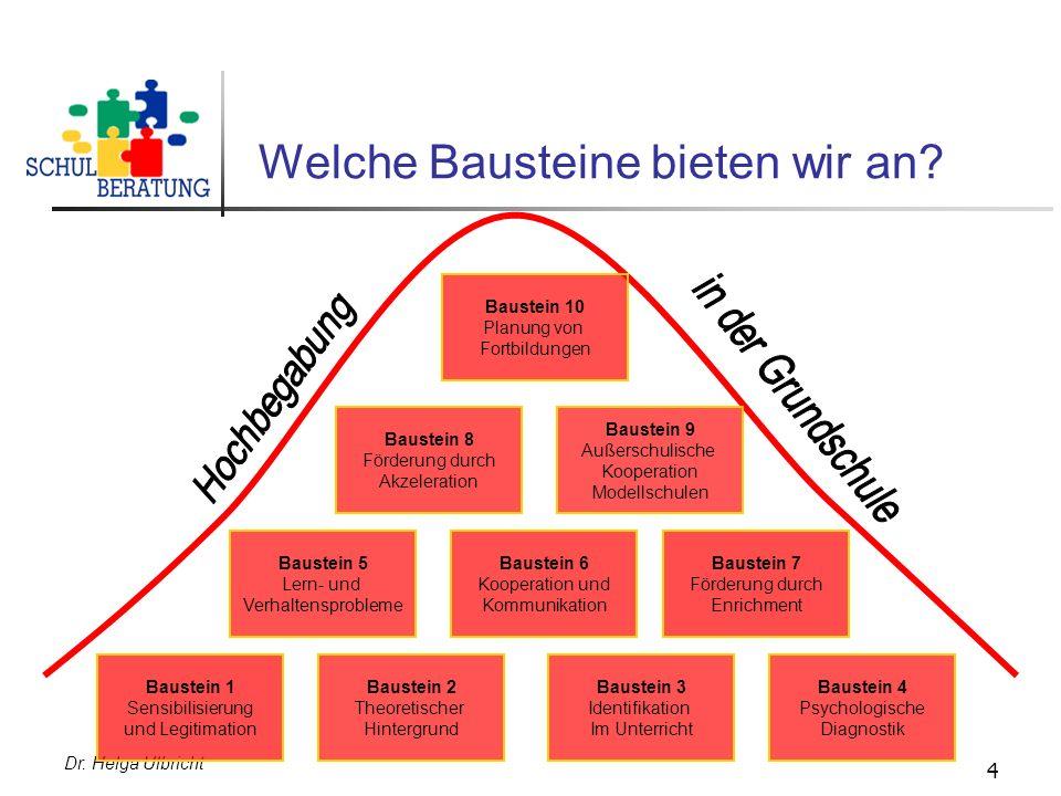 Dr. Helga Ulbricht 4 Welche Bausteine bieten wir an? Baustein 1 Sensibilisierung und Legitimation Baustein 2 Theoretischer Hintergrund Baustein 3 Iden