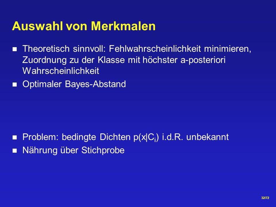 32/72 Auswahl von Merkmalen Theoretisch sinnvoll: Fehlwahrscheinlichkeit minimieren, Zuordnung zu der Klasse mit höchster a-posteriori Wahrscheinlichkeit Optimaler Bayes-Abstand Problem: bedingte Dichten p(x C i ) i.d.R.