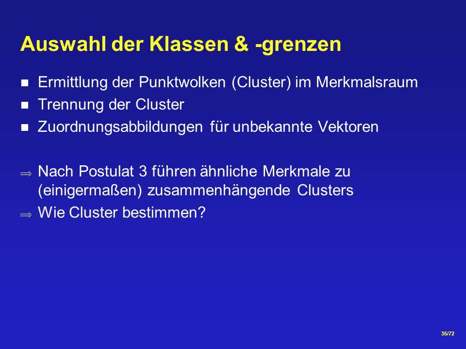 35/72 Auswahl der Klassen & -grenzen Ermittlung der Punktwolken (Cluster) im Merkmalsraum Trennung der Cluster Zuordnungsabbildungen für unbekannte Vektoren Nach Postulat 3 führen ähnliche Merkmale zu (einigermaßen) zusammenhängende Clusters Wie Cluster bestimmen?