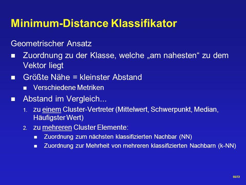 55/72 Minimum-Distance Klassifikator Geometrischer Ansatz Zuordnung zu der Klasse, welche am nahesten zu dem Vektor liegt Größte Nähe = kleinster Abstand Verschiedene Metriken Abstand im Vergleich...