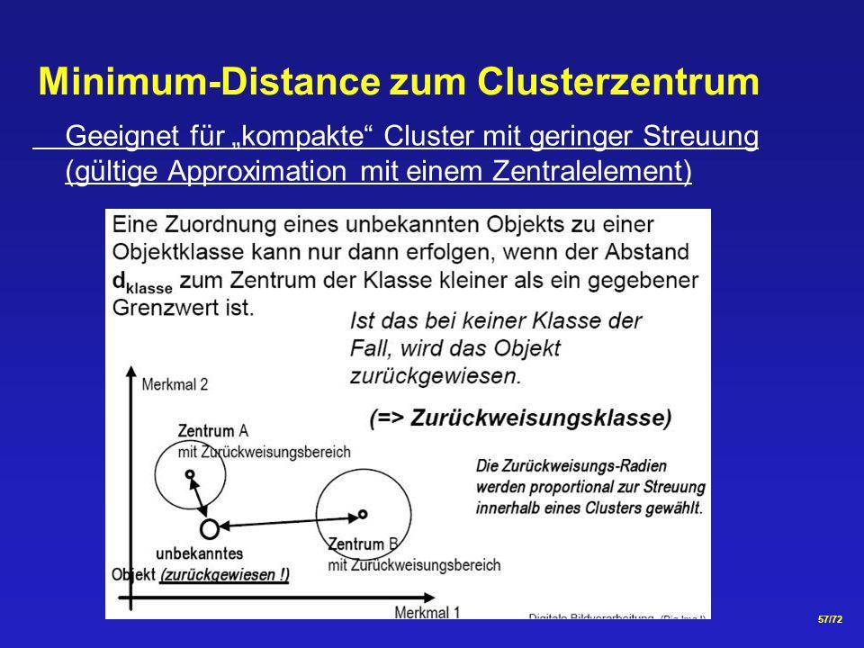 57/72 Minimum-Distance zum Clusterzentrum Geeignet für kompakte Cluster mit geringer Streuung (gültige Approximation mit einem Zentralelement)