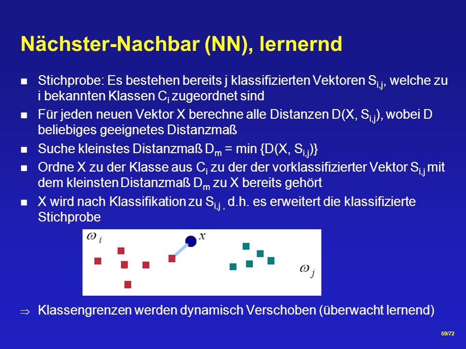 59/72 Nächster-Nachbar (NN), lernernd Stichprobe: Es bestehen bereits j klassifizierten Vektoren S i,j, welche zu i bekannten Klassen C i zugeordnet sind Für jeden neuen Vektor X berechne alle Distanzen D(X, S i,j ), wobei D beliebiges geeignetes Distanzmaß Suche kleinstes Distanzmaß D m = min {D(X, S i,j )} Ordne X zu der Klasse aus C i zu der der vorklassifizierter Vektor S i,j mit dem kleinsten Distanzmaß D m zu X bereits gehört X wird nach Klassifikation zu S i,j, d.h.