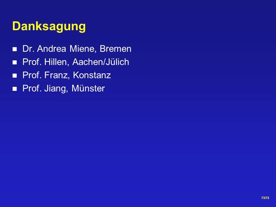 73/72 Danksagung Dr.Andrea Miene, Bremen Prof. Hillen, Aachen/Jülich Prof.