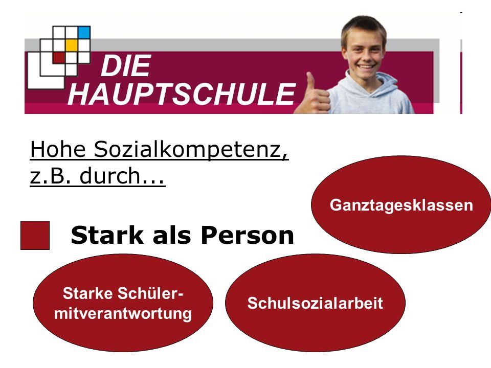 DIE HAUPTSCHULE Stark als Person Starke Schüler- mitverantwortung Schulsozialarbeit Ganztagesklassen Hohe Sozialkompetenz, z.B. durch...