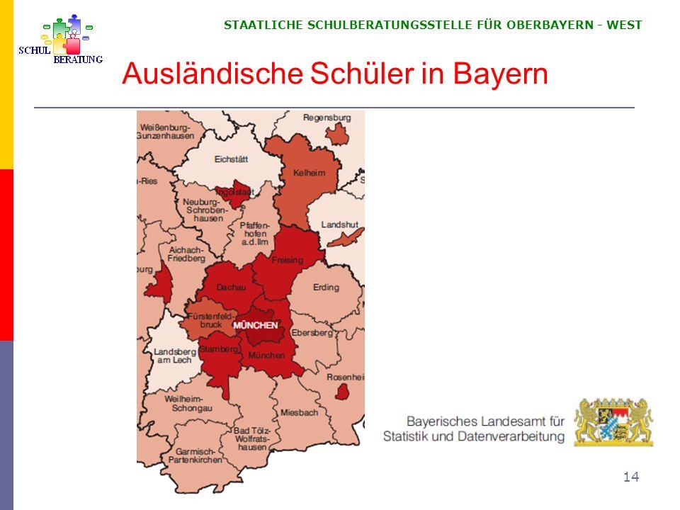 STAATLICHE SCHULBERATUNGSSTELLE FÜR OBERBAYERN WEST 14 Ausländische Schüler in Bayern