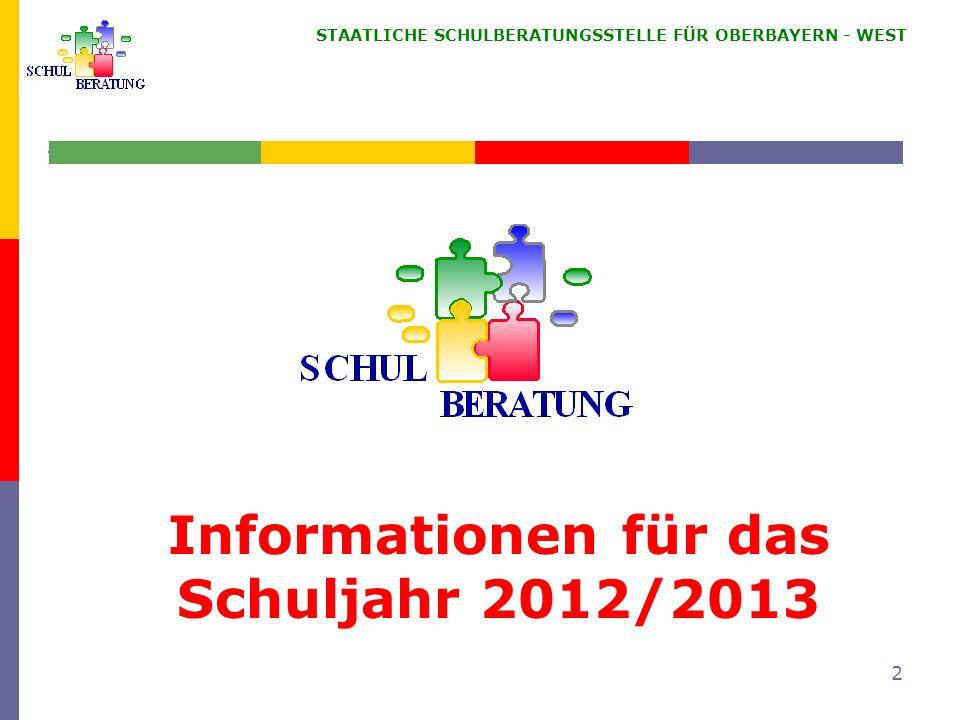 STAATLICHE SCHULBERATUNGSSTELLE FÜR OBERBAYERN WEST 43 Schulen mit dem 9+2 Modell MS Lessingstr., Ingolstadt MS Karlsfeld + Dr.