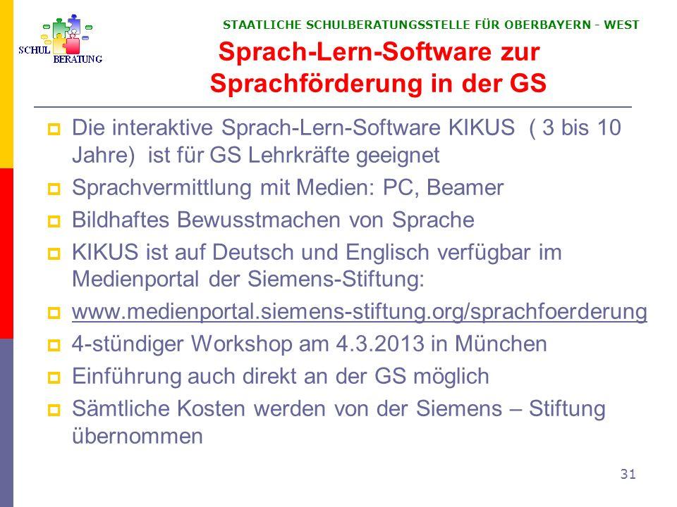 STAATLICHE SCHULBERATUNGSSTELLE FÜR OBERBAYERN WEST 31 Sprach-Lern-Software zur Sprachförderung in der GS Die interaktive Sprach-Lern-Software KIKUS (