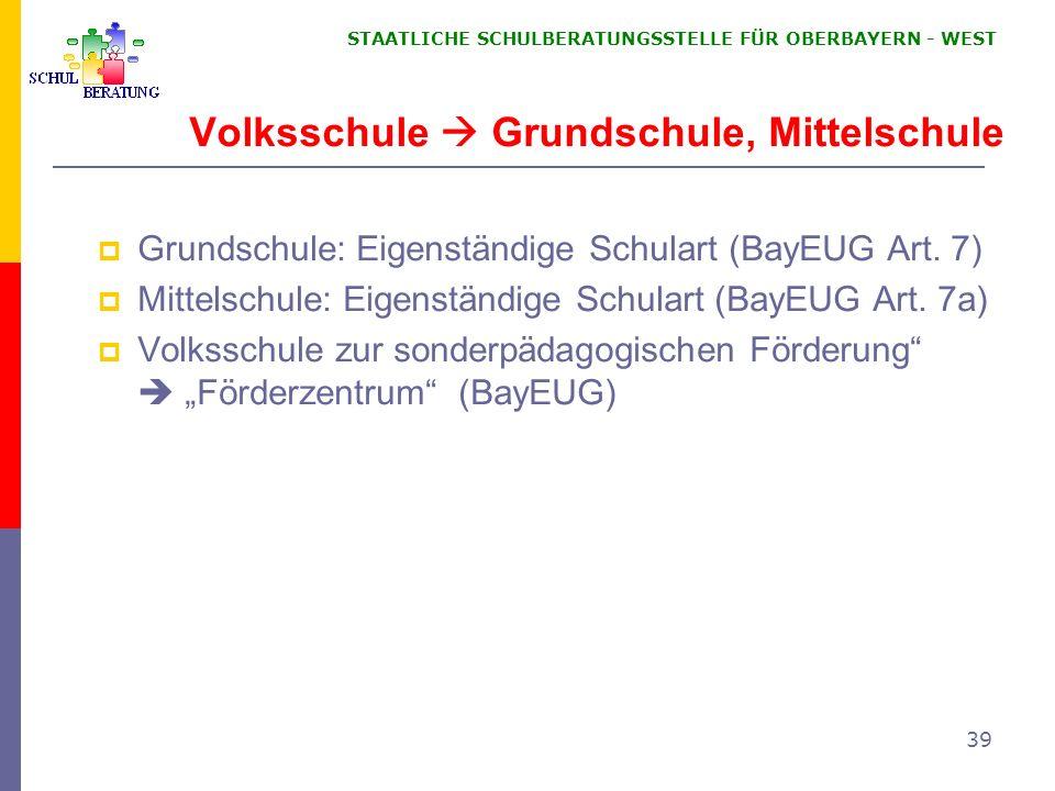 STAATLICHE SCHULBERATUNGSSTELLE FÜR OBERBAYERN WEST 39 Volksschule Grundschule, Mittelschule Grundschule: Eigenständige Schulart (BayEUG Art. 7) Mitte