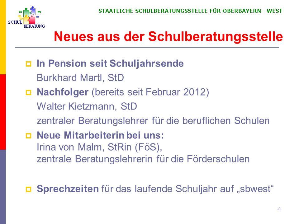 STAATLICHE SCHULBERATUNGSSTELLE FÜR OBERBAYERN WEST Diakonie Oberland Am Öferl 8 82362 Weilheim Tel:: 0881/ 92 91 70 Fax: 0881/ 92 91 77 Mail: kontakt@diakonie-oberland.de kontakt@diakonie-oberland.de Landsberg und Schongau Frau Hüsken 0175 - 4803756 (nach Vereinbarung) Landkreise Weilheim und Landsberg