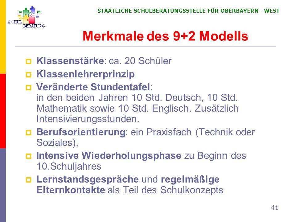 STAATLICHE SCHULBERATUNGSSTELLE FÜR OBERBAYERN WEST 41 Merkmale des 9+2 Modells Klassenstärke: ca. 20 Schüler Klassenlehrerprinzip Veränderte Stundent