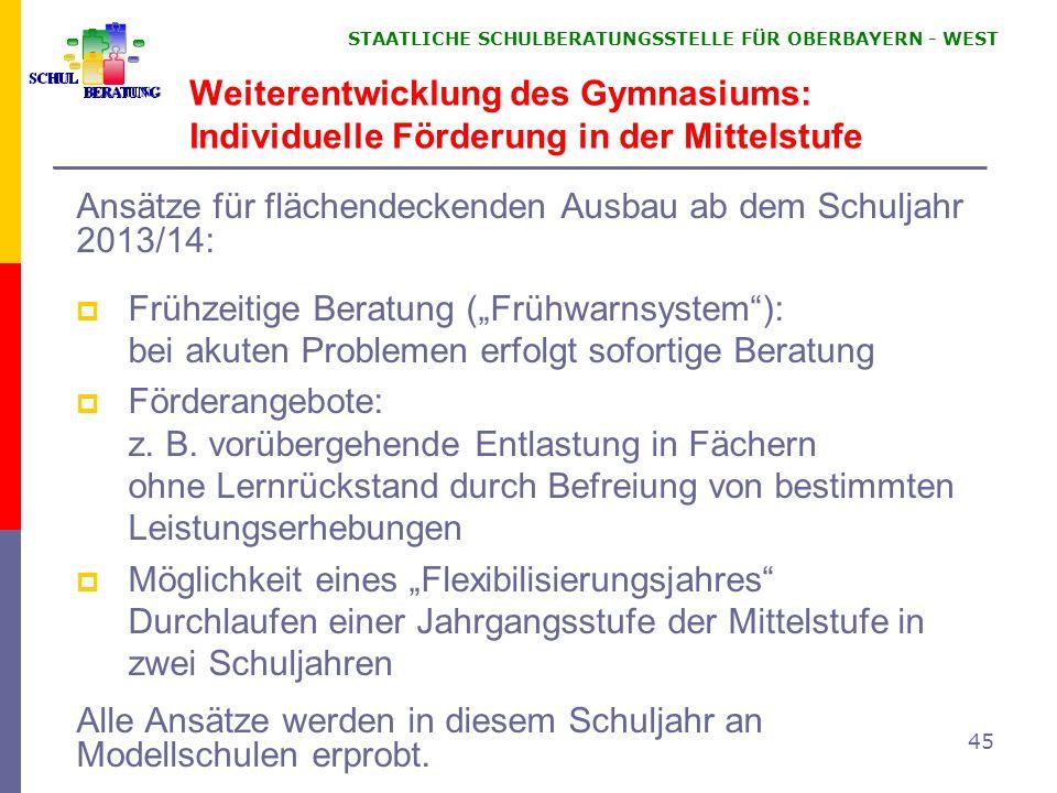 STAATLICHE SCHULBERATUNGSSTELLE FÜR OBERBAYERN WEST 45 Weiterentwicklung des Gymnasiums: Individuelle Förderung in der Mittelstufe Ansätze für flächen