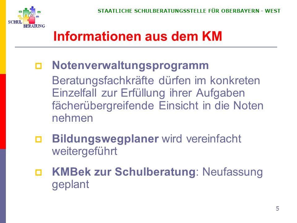 STAATLICHE SCHULBERATUNGSSTELLE FÜR OBERBAYERN WEST 5 Informationen aus dem KM Notenverwaltungsprogramm Beratungsfachkräfte dürfen im konkreten Einzel