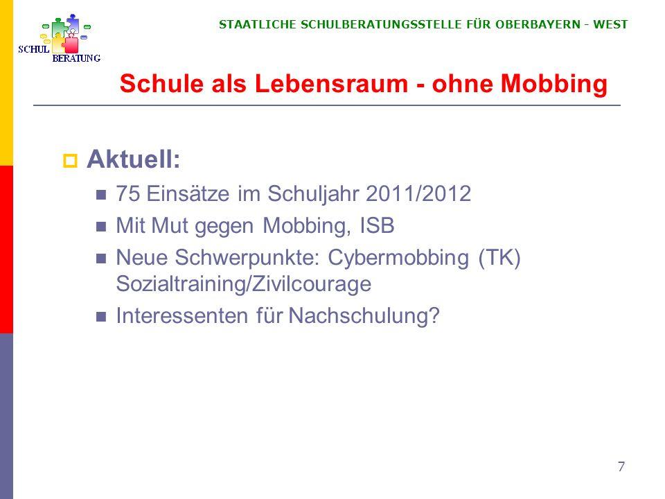 STAATLICHE SCHULBERATUNGSSTELLE FÜR OBERBAYERN WEST 7 Aktuell: 75 Einsätze im Schuljahr 2011/2012 Mit Mut gegen Mobbing, ISB Neue Schwerpunkte: Cyberm