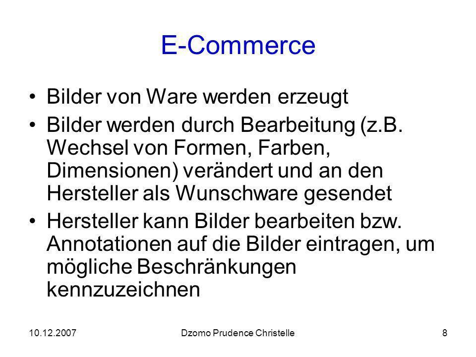 10.12.2007Dzomo Prudence Christelle9 Mögliche Bereiche der Telematik Verkehrstelematik Logistik Fottenmanagementssystem Navigationssystem ….