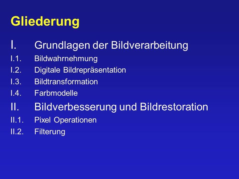 Gliederung I. Grundlagen der Bildverarbeitung I.1.Bildwahrnehmung I.2.Digitale Bildrepräsentation I.3.Bildtransformation I.4.Farbmodelle II. Bildverbe