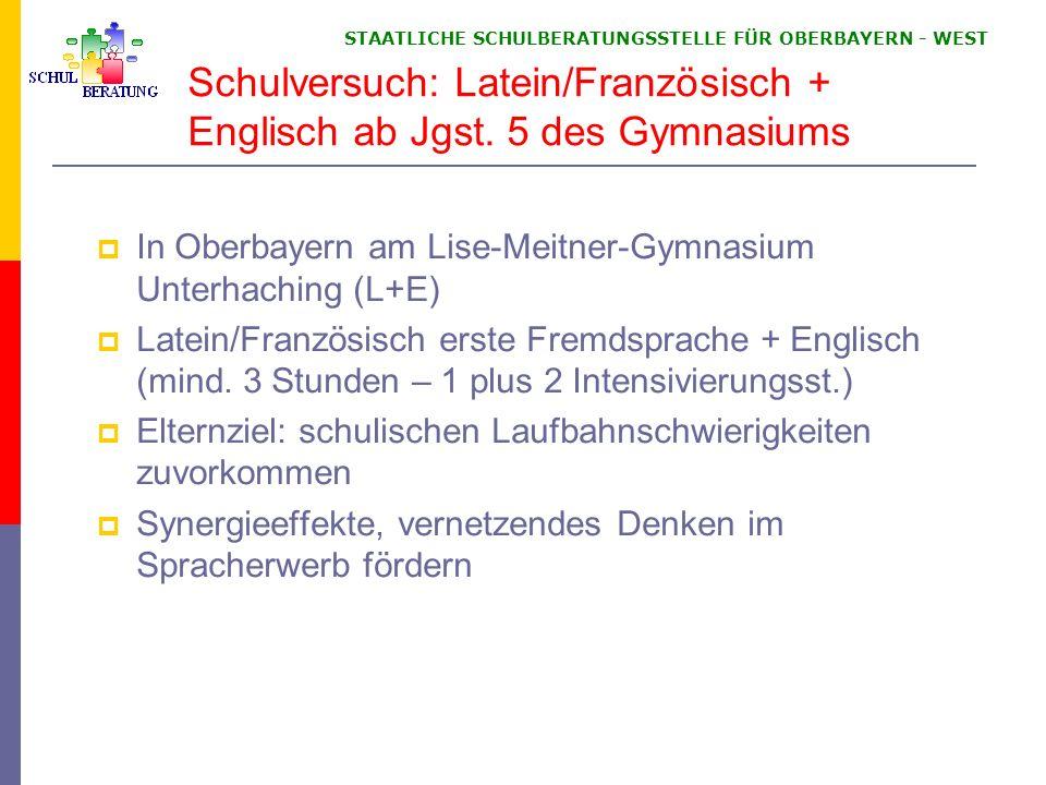 STAATLICHE SCHULBERATUNGSSTELLE FÜR OBERBAYERN WEST Schulversuch: Latein/Französisch + Englisch ab Jgst. 5 des Gymnasiums In Oberbayern am Lise-Meitne