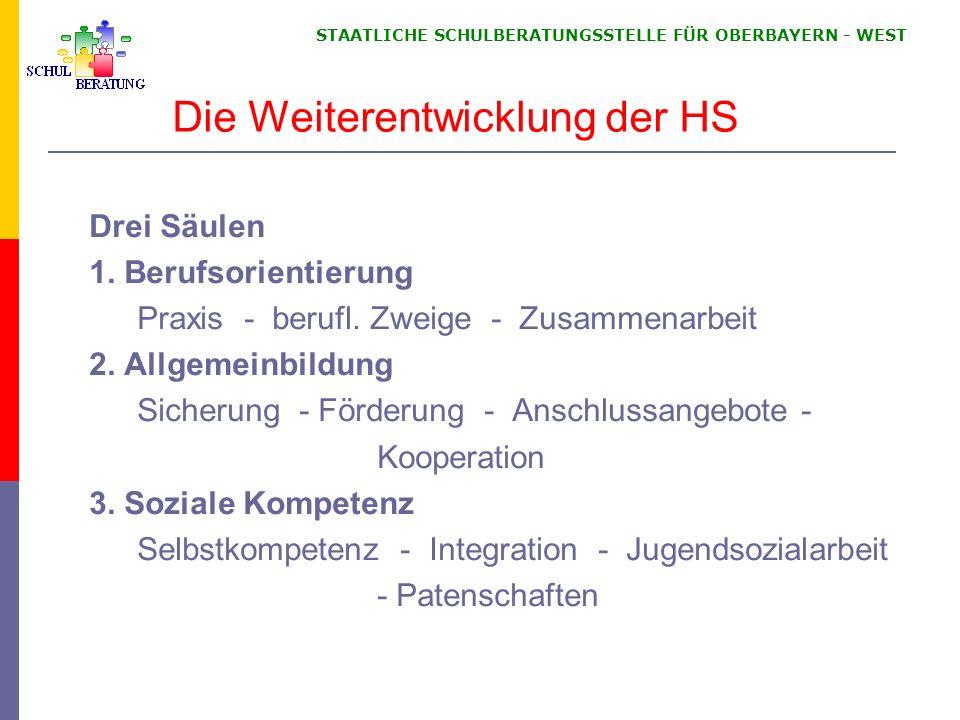STAATLICHE SCHULBERATUNGSSTELLE FÜR OBERBAYERN WEST Die Weiterentwicklung der HS Drei Säulen 1.