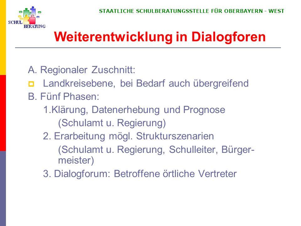 STAATLICHE SCHULBERATUNGSSTELLE FÜR OBERBAYERN WEST Weiterentwicklung in Dialogforen A. Regionaler Zuschnitt: Landkreisebene, bei Bedarf auch übergrei