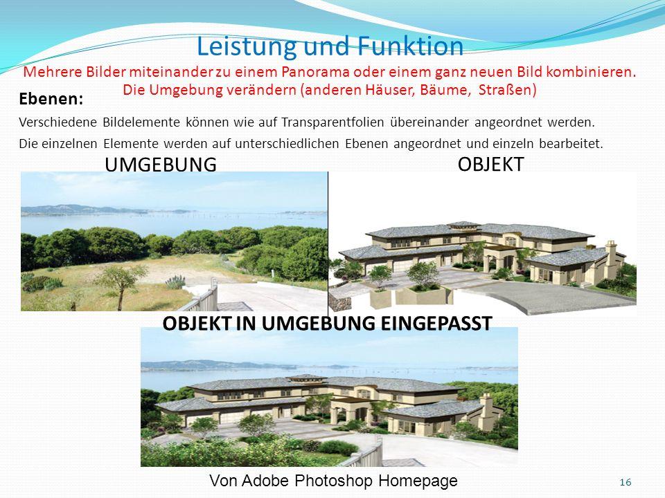 UMGEBUNG OBJEKT 16 OBJEKT IN UMGEBUNG EINGEPASST Leistung und Funktion Mehrere Bilder miteinander zu einem Panorama oder einem ganz neuen Bild kombinieren.