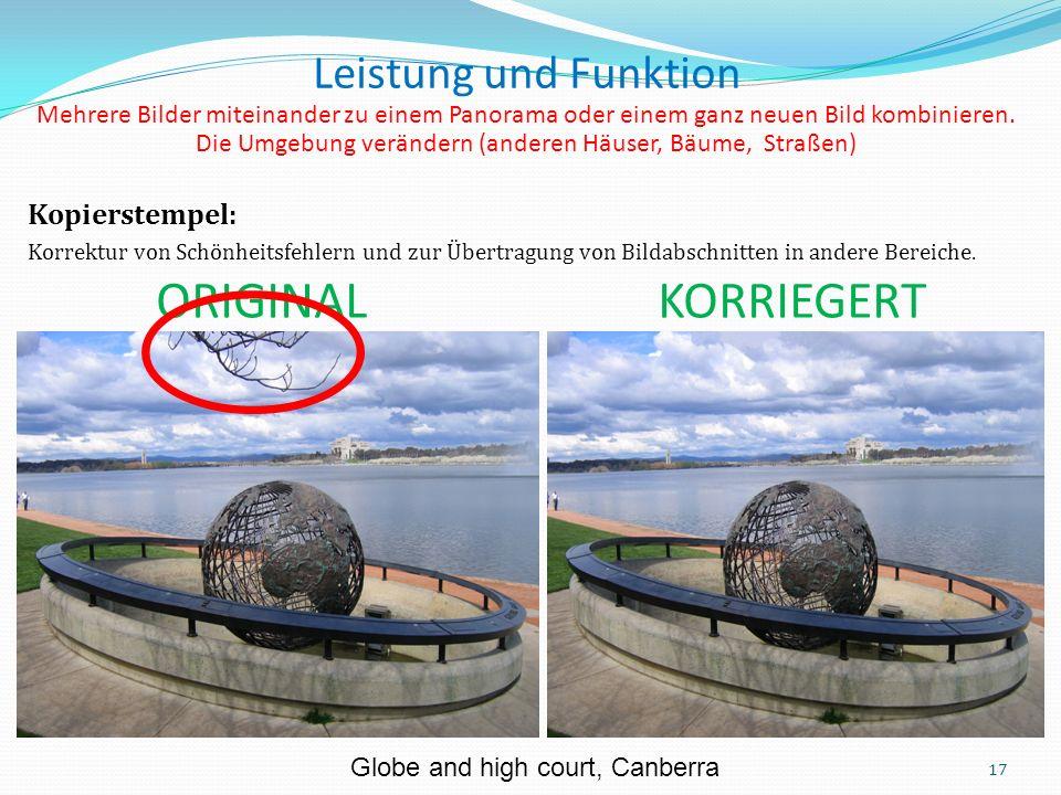 Kopierstempel: Korrektur von Schönheitsfehlern und zur Übertragung von Bildabschnitten in andere Bereiche.