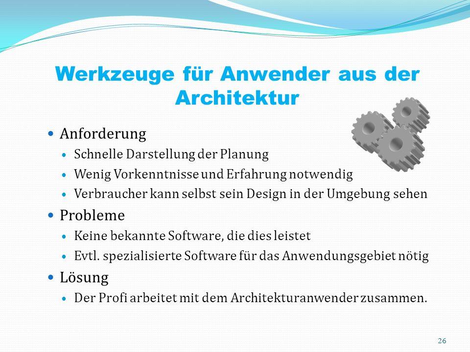 Werkzeuge für Anwender aus der Architektur Anforderung Schnelle Darstellung der Planung Wenig Vorkenntnisse und Erfahrung notwendig Verbraucher kann selbst sein Design in der Umgebung sehen Probleme Keine bekannte Software, die dies leistet Evtl.