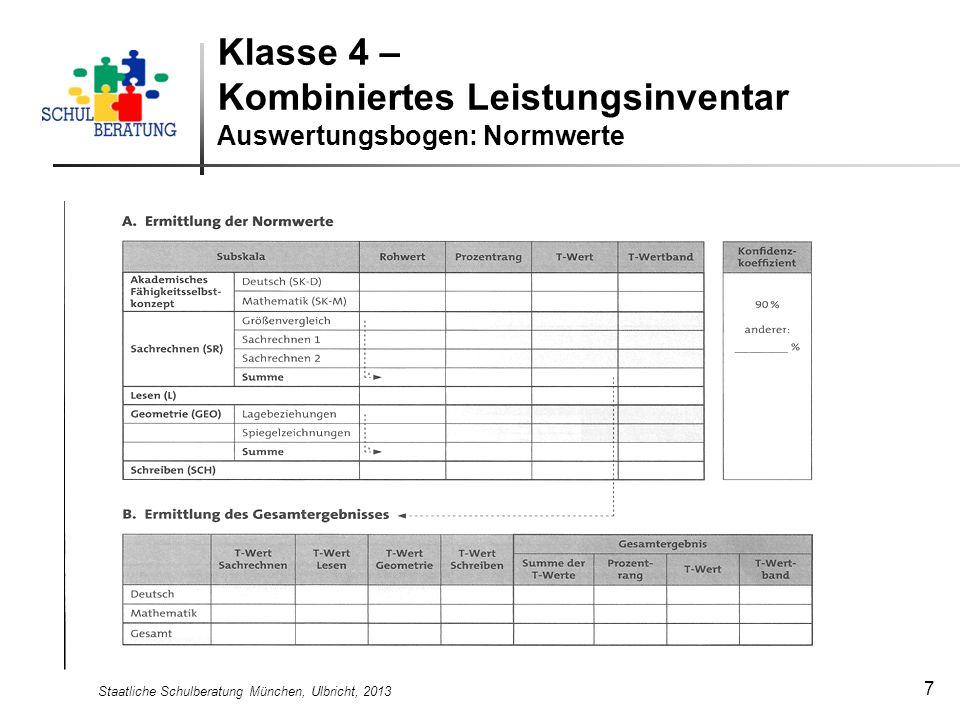 Staatliche Schulberatung München, Ulbricht, 2013 7 Klasse 4 – Kombiniertes Leistungsinventar Auswertungsbogen: Normwerte