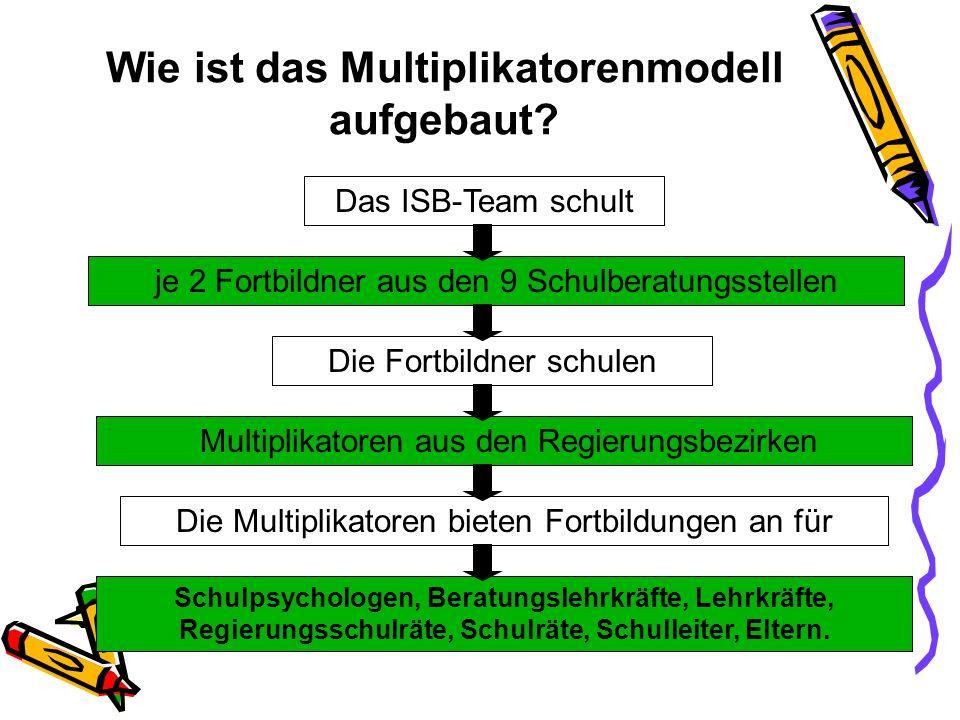 Wie ist das Multiplikatorenmodell aufgebaut? Das ISB-Team schult je 2 Fortbildner aus den 9 Schulberatungsstellen Die Fortbildner schulen Die Multipli