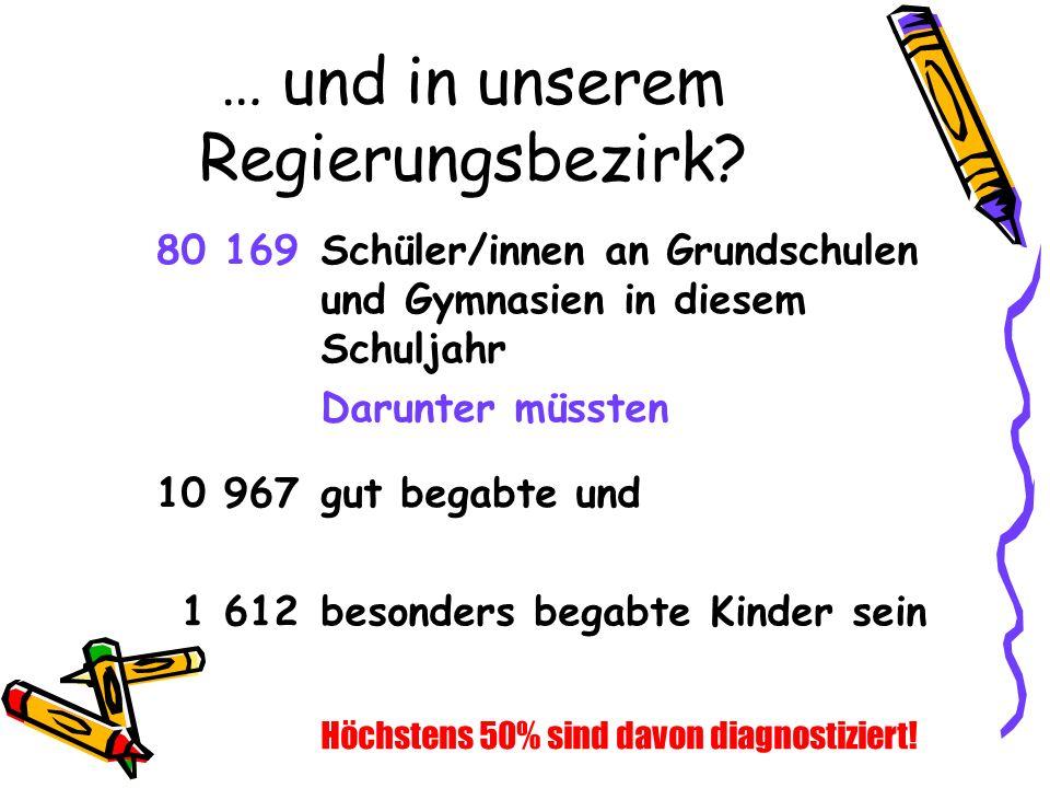 … und in unserem Regierungsbezirk? Höchstens 50% sind davon diagnostiziert! 80 169Schüler/innen an Grundschulen und Gymnasien in diesem Schuljahr Daru