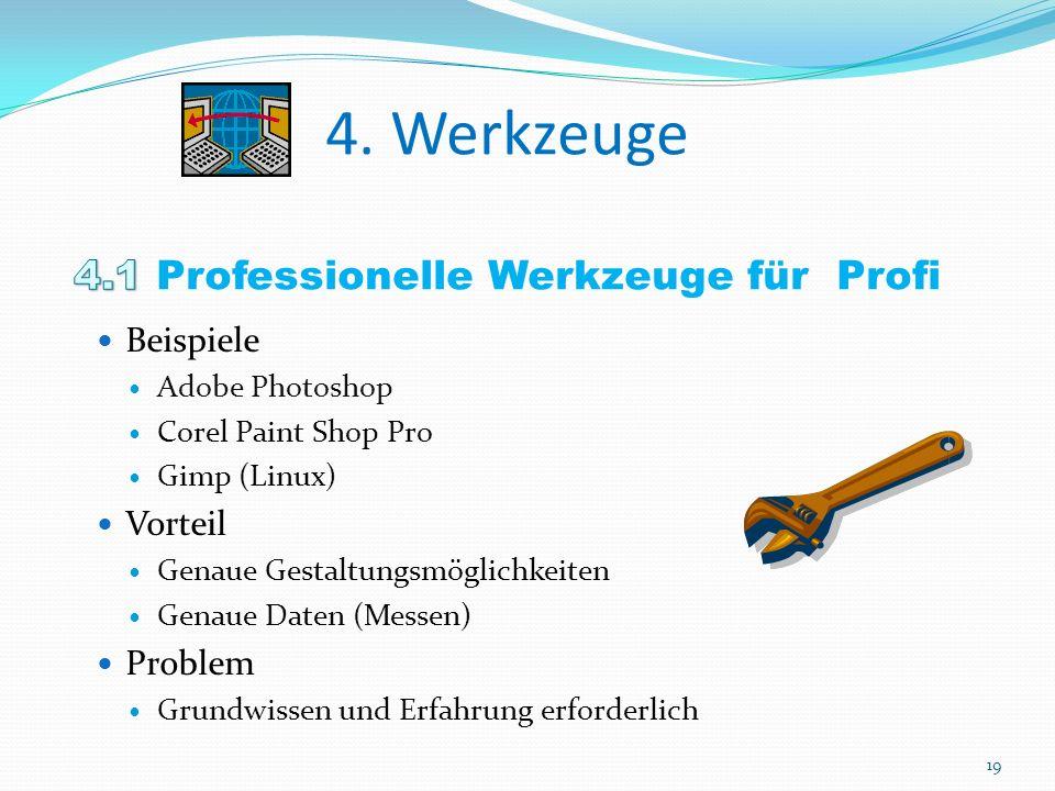 Beispiele Adobe Photoshop Corel Paint Shop Pro Gimp (Linux) Vorteil Genaue Gestaltungsmöglichkeiten Genaue Daten (Messen) Problem Grundwissen und Erfahrung erforderlich 19
