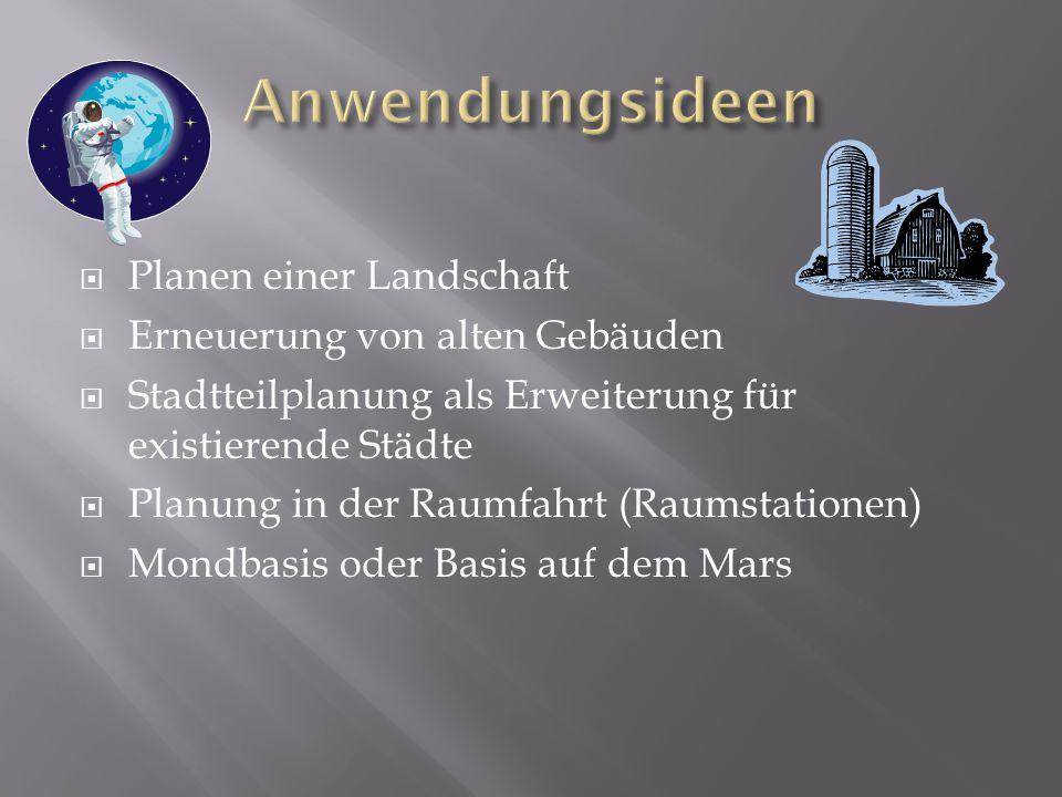 Planen einer Landschaft Erneuerung von alten Gebäuden Stadtteilplanung als Erweiterung für existierende Städte Planung in der Raumfahrt (Raumstationen) Mondbasis oder Basis auf dem Mars