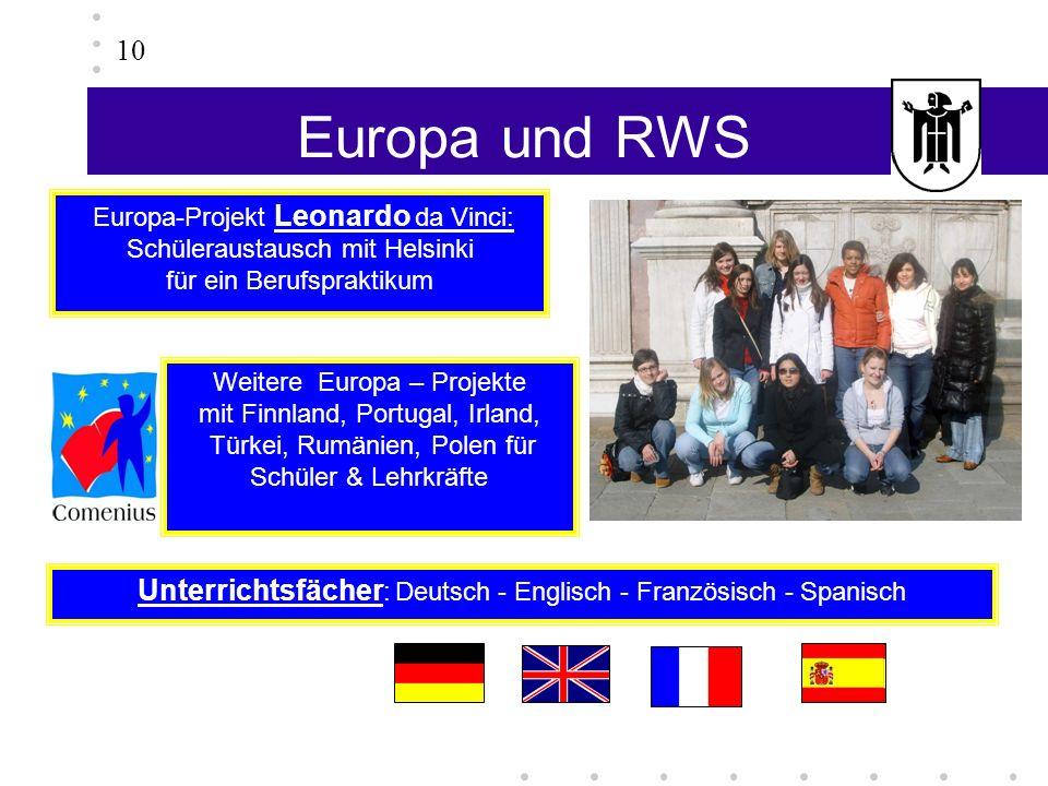 Europa und RWS 10 Weitere Europa – Projekte mit Finnland, Portugal, Irland, Türkei, Rumänien, Polen für Schüler & Lehrkräfte Unterrichtsfächer : Deuts