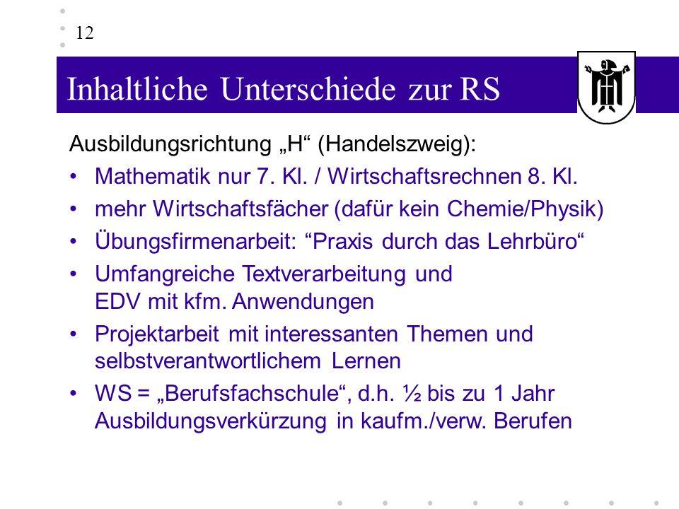 Inhaltliche Unterschiede zur RS 12 Ausbildungsrichtung H (Handelszweig): Mathematik nur 7. Kl. / Wirtschaftsrechnen 8. Kl. mehr Wirtschaftsfächer (daf